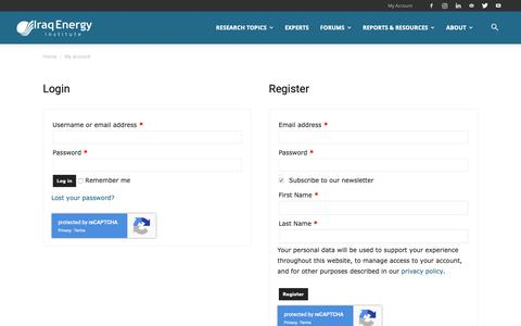 Screenshot of Signup Page iraqenergy.org - My account | Iraq Energy Institute - captured Dec. 19, 2018