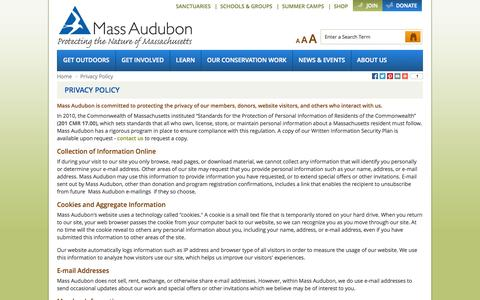 Screenshot of Privacy Page massaudubon.org - Privacy Policy - captured Oct. 27, 2014