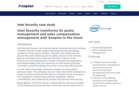 Screenshot of Case Studies Page anaplan.com - Intel Security Case Study - captured April 11, 2017