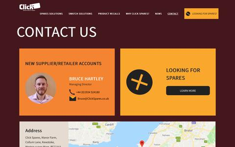 Screenshot of Contact Page clickspares.co.uk - Contact | Click Spares - captured Sept. 28, 2018