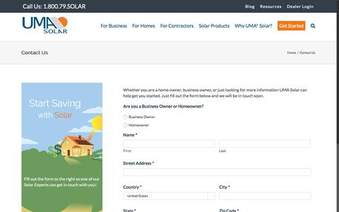 Screenshot of Contact Page umasolar.com - Contact Us - Get a Free Quote and Start Saving with Solar - UMA Solar - captured July 26, 2018