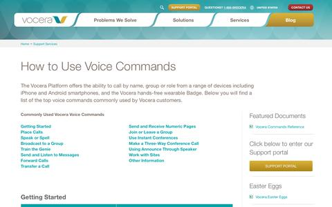 Screenshot of Support Page vocera.com - How to Use Voice Commands | Vocera - captured Oct. 28, 2018