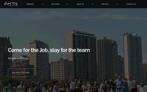 Screenshot of Jobs Page akta.com - Careers at ÄKTA - ÄKTA   Chicago & Austin - captured March 19, 2016