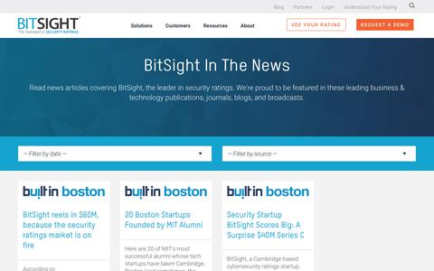 Screenshot of Press Page bitsight.com - Cybersecurity News | BitSight | Built In Boston - captured Dec. 30, 2019