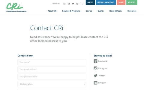 Screenshot of Contact Page mycri.org - Contact CRi   CRi - Community - captured Nov. 1, 2018