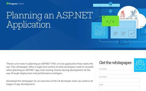Screenshot of Landing Page telerik.com - Planning an ASP.NET Application - captured Jan. 20, 2018