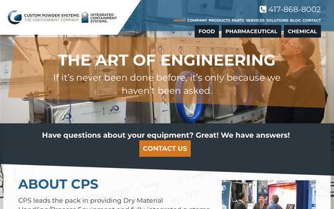 Screenshot of Home Page custom-powder.com - Custom Powder Systems | The Containment Company - captured Sept. 30, 2018