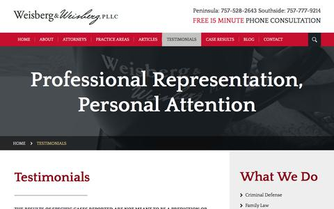 Screenshot of Testimonials Page weisbergattorneys.com - Testimonials   Weisberg & Weisberg, PLLC   Newport News - captured July 1, 2018