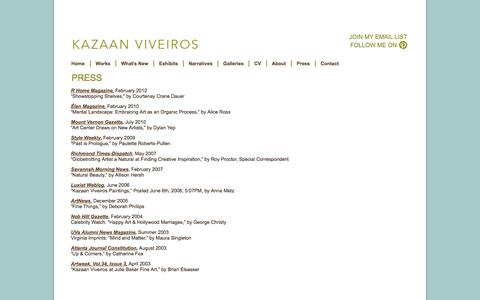 Screenshot of Press Page kazaan.com - Press   Kazaan Viveiros - captured Oct. 6, 2014