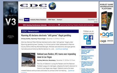 Screenshot of Press Page cdcgamingreports.com - CDC Newsroom - Page 1 - captured Dec. 12, 2018