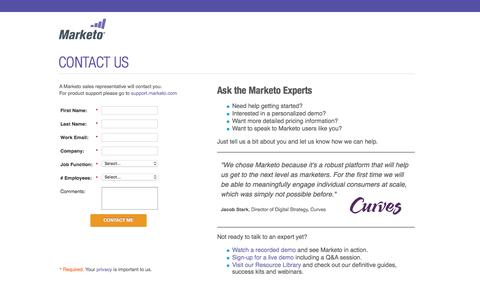 Screenshot of Landing Page marketo.com - Contact Us | Marketo - captured Aug. 14, 2016
