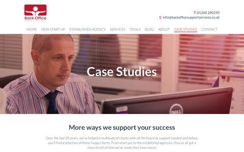 Screenshot of Case Studies Page backofficesupportservices.co.uk - Case Studies - Back Office Support Service : Back Office Support Service - captured Oct. 9, 2017