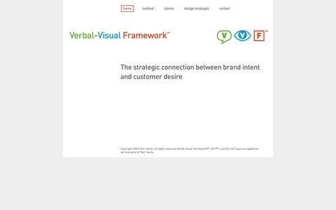 Screenshot of Home Page verbal-visual.com - Verbal-Visual Framework Home Page - captured Oct. 7, 2014
