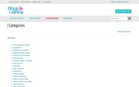 Screenshot of Site Map Page shopnshine.co.uk - Car Care Products - Detailing Products - Shop 'n' Shine - captured Dec. 21, 2015