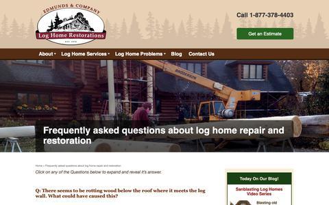 Screenshot of FAQ Page restorelogs.com - Log Home Restoration FAQ l WI | MN | Edmunds and Company - captured Sept. 27, 2018