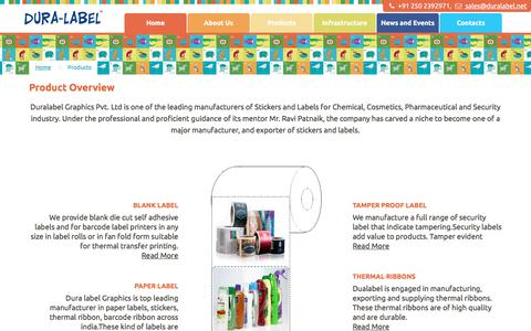 Screenshot of Products Page duralabel.net - Duralabel Stickers Label Manufacturers India - captured July 23, 2019
