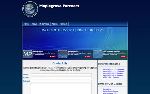 Screenshot of Contact Page maplegrovepartners.com - Maplegrove Partners - captured Oct. 27, 2014