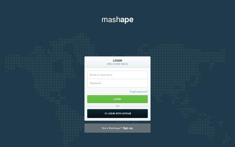 Screenshot of Login Page mashape.com - Mashape - Cloud API Marketplace & Free API Management Platform - captured July 21, 2014