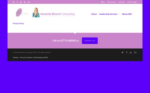 Screenshot of Terms Page amandabouchconsulting.co.uk - Executive Coaching Maidenhead, Marlow, Berkshire, Buckinghamshire - captured Oct. 2, 2018