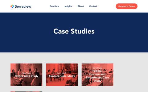 Screenshot of Case Studies Page serraview.com - Telstra Case Study - captured July 26, 2018