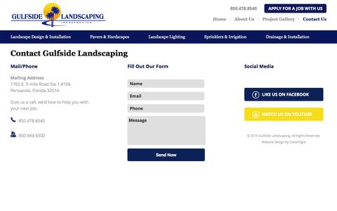 Screenshot of Contact Page gulfsidelandscaping.com - Contact for Landscaping Estimates | Gulfside Landscaping - captured Dec. 15, 2015