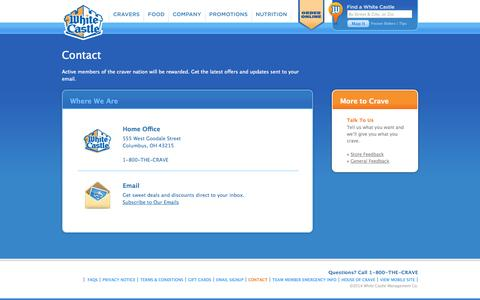 Screenshot of Contact Page whitecastle.com - Contact | White Castle - captured Sept. 24, 2014