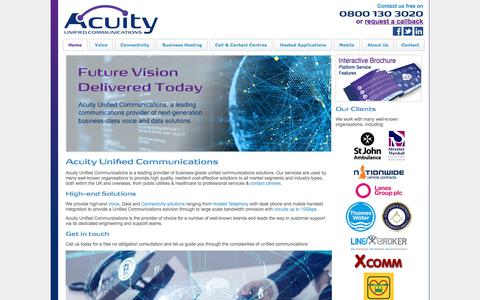 Screenshot of Home Page acuityuc.com - Acuity Unified Communications Ltd :: Acuity Network - captured July 23, 2019