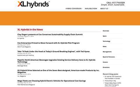 Screenshot of Press Page xlhybrids.com - XL Hybrids in the News | XL Hybrids - captured Sept. 17, 2014