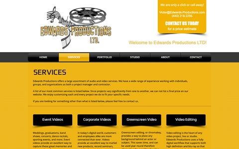 Screenshot of Services Page edwards-productions.com - Edwards Productions Ltd. | Video and Audio Services | Amherst, Ohio - captured Sept. 27, 2018