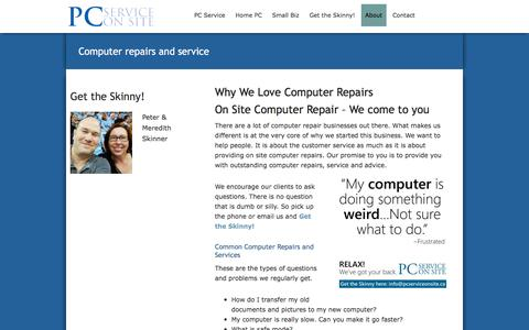 Screenshot of About Page pcserviceonsite.ca - Computer Repair & Service | Barrie | Muskoka | Toronto - captured May 12, 2017