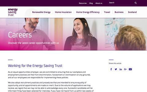 Screenshot of Jobs Page energysavingtrust.org.uk - Careers   Energy Saving Trust - captured May 19, 2017