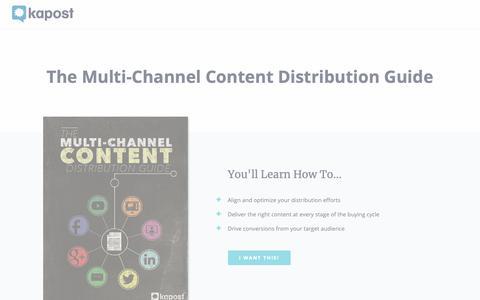 Screenshot of Landing Page kapost.com - Kapost eBook | Multi-Channel Content Distribution Guide - captured Jan. 7, 2019