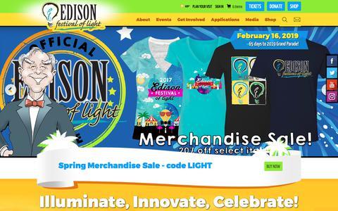 Screenshot of Home Page edisonfestival.org - Edison Festival of Light - captured Dec. 14, 2018