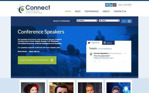 Screenshot of Home Page connectspeakersbureau.com - Conference Speakers, Brexit Speaker, After Dinner Speaker - captured July 15, 2016