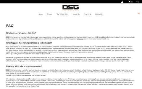Screenshot of FAQ Page dsgperformance.com - FAQ - captured June 29, 2017