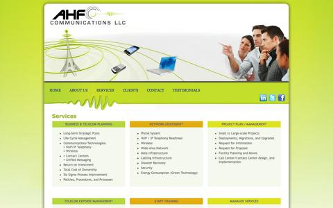 Screenshot of Services Page ahfcommunications.com - telecommunication services - captured Oct. 4, 2014