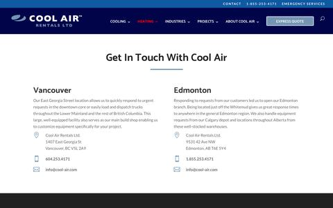 Screenshot of Contact Page cool-air.com - Contact   Cool Air Rentals   Temporary Air Conditioning   Heating   Ventilation - captured Sept. 29, 2018