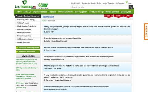 Screenshot of Testimonials Page biosyn.com - Bio-Synthesis, Inc. - Testimonials. - captured Oct. 5, 2018