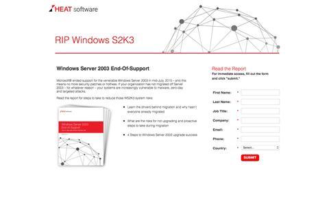 Screenshot of Landing Page heatsoftware.com - Windows Server 2003 End-Of-Support - captured March 14, 2016