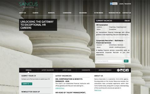 Screenshot of Home Page sancusassociates.com - Sancus Associates - captured Sept. 30, 2014