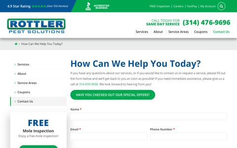 Screenshot of Contact Page rottler.com - Contact Us   Speak with a Rottler Pest Control Expert - captured Jan. 23, 2020