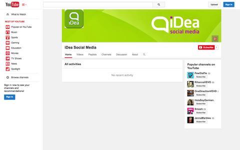 Screenshot of YouTube Page youtube.com - iDea Social Media  - YouTube - captured Oct. 29, 2014