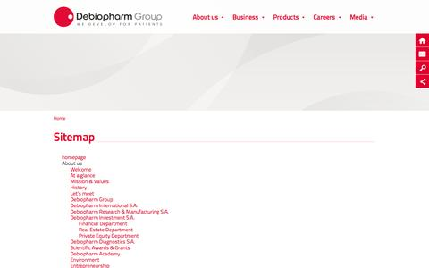 Screenshot of Site Map Page debiopharm.com - Plan du site - captured Oct. 5, 2014