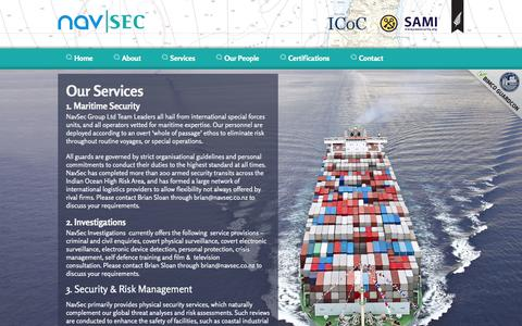 Screenshot of Services Page navsec.co.nz - Navsec | Services | Maritime Security Investigations Risk Management - captured Oct. 27, 2014