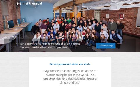 Screenshot of Jobs Page myfitnesspal.com - Jobs | MyFitnessPal.com - captured April 26, 2018