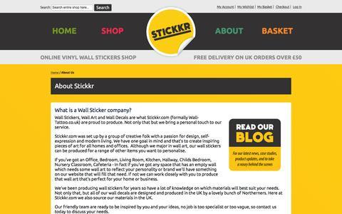Screenshot of About Page stickkr.com - About Us Stickkr.com - captured March 29, 2016