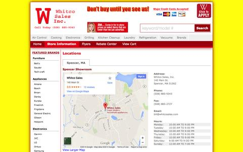 Screenshot of Contact Page Locations Page whitcosales.com - Contact Whitco Sales, Inc. in Massachusetts - captured Oct. 26, 2014