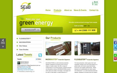 Screenshot of Products Page seabenergy.com - Anaerobic digestion technology, energy from waste, biogas SEaB Energy - captured Oct. 3, 2014