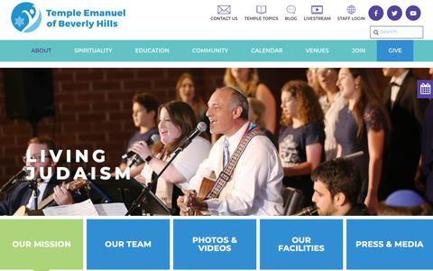 Screenshot of About Page tebh.org - Our Mission - Temple Emanuel Beverly Hills - captured Oct. 18, 2018
