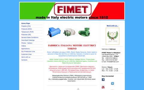 Screenshot of Home Page fimetmotori.com - Benvenuti da Fimet Motori e Riduttori - captured Oct. 5, 2014